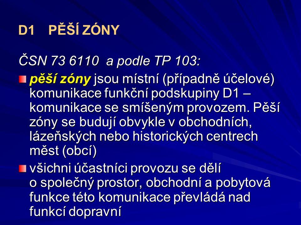 D1 PĚŠÍ ZÓNY ČSN 73 6110 a podle TP 103: