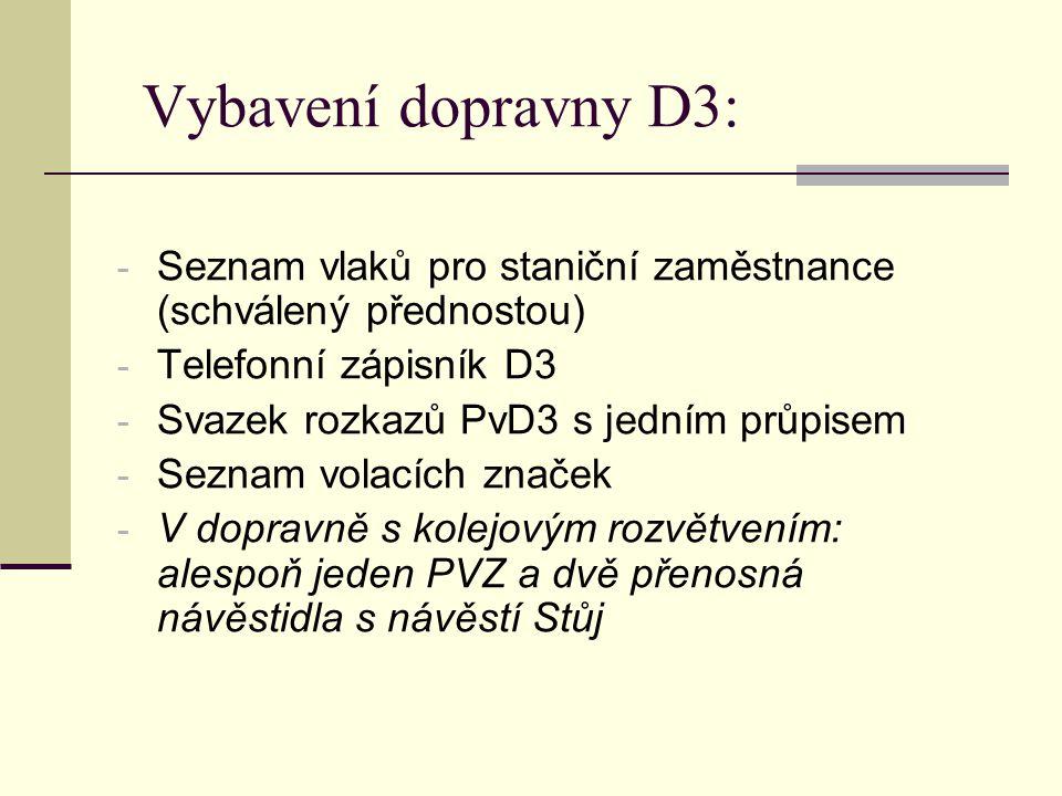 Vybavení dopravny D3: Seznam vlaků pro staniční zaměstnance (schválený přednostou) Telefonní zápisník D3.