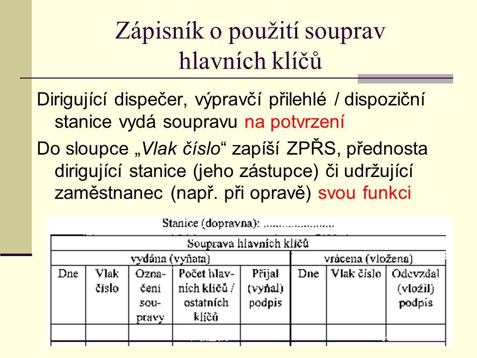 Zápisník o použití souprav hlavních klíčů