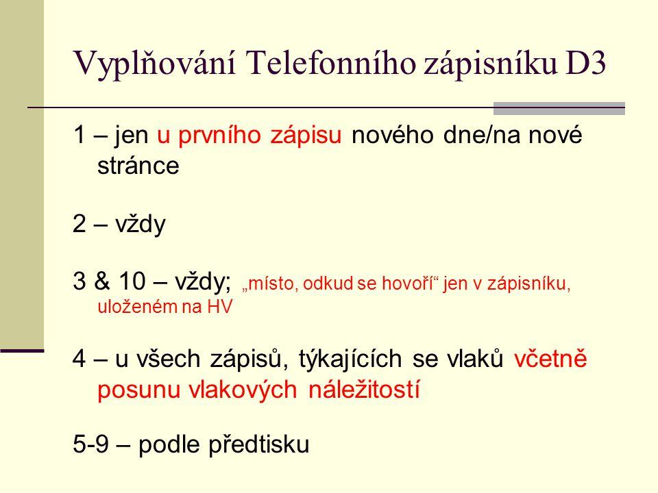Vyplňování Telefonního zápisníku D3