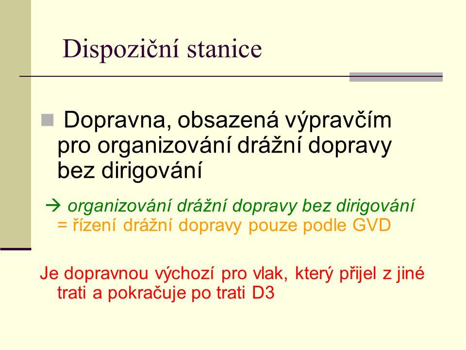 Dispoziční stanice Dopravna, obsazená výpravčím pro organizování drážní dopravy bez dirigování.