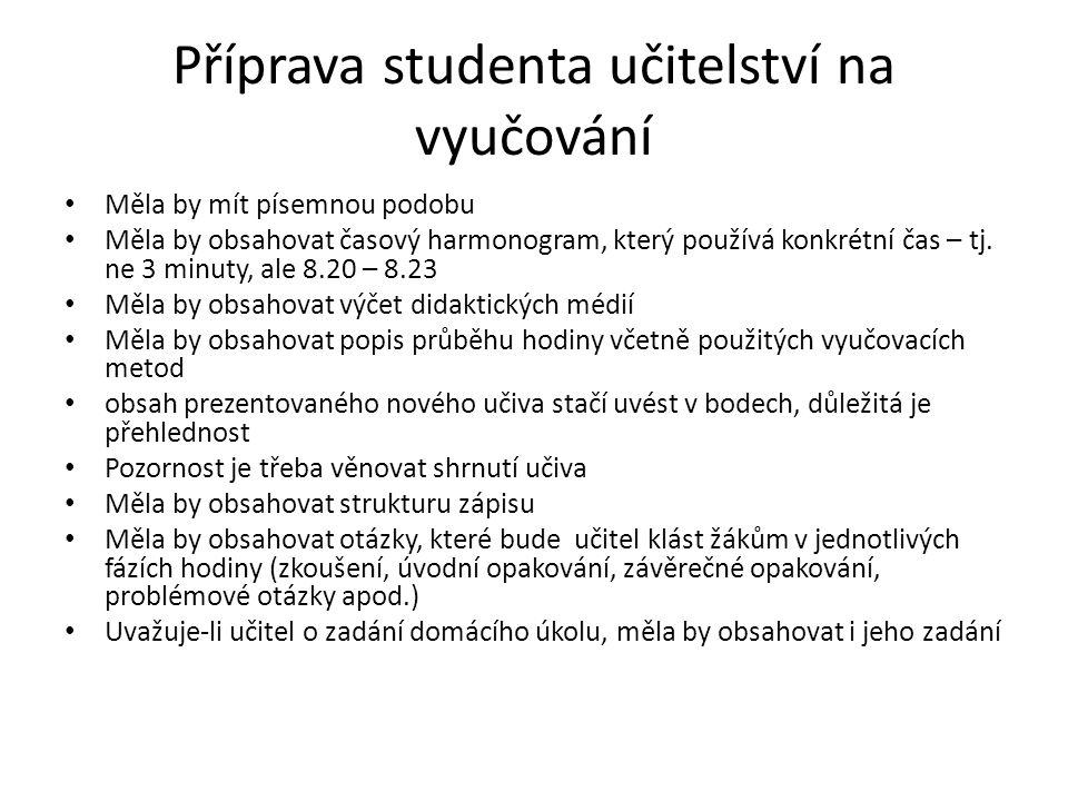 Příprava studenta učitelství na vyučování