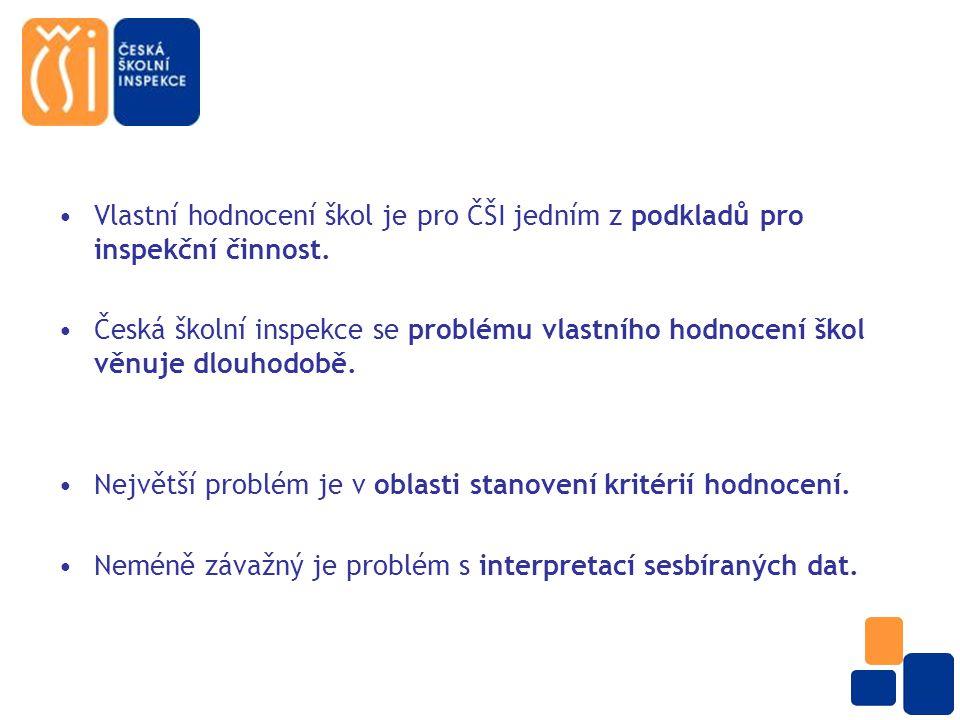 Vlastní hodnocení škol je pro ČŠI jedním z podkladů pro inspekční činnost.