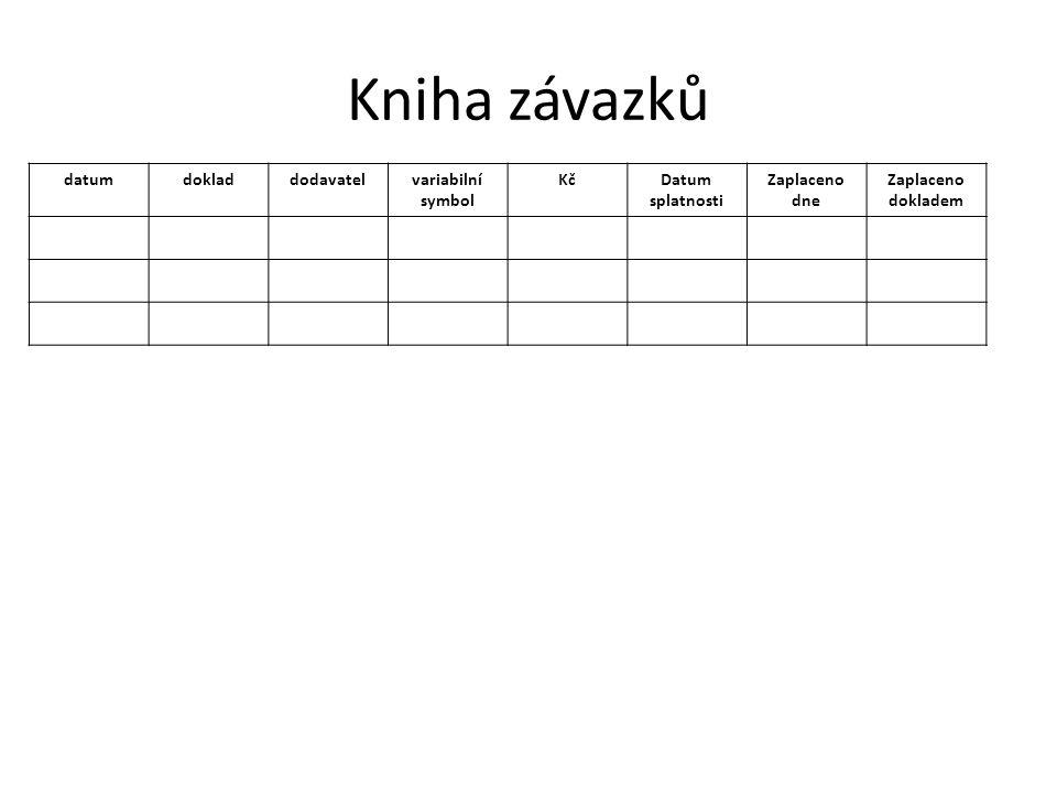 Kniha závazků datum doklad dodavatel variabilní symbol Kč