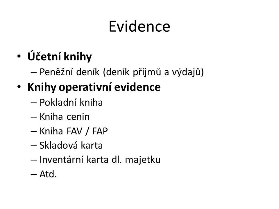 Evidence Účetní knihy Knihy operativní evidence