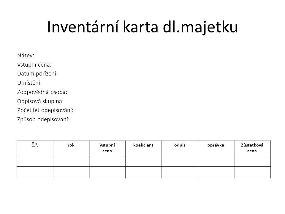 Inventární karta dl.majetku