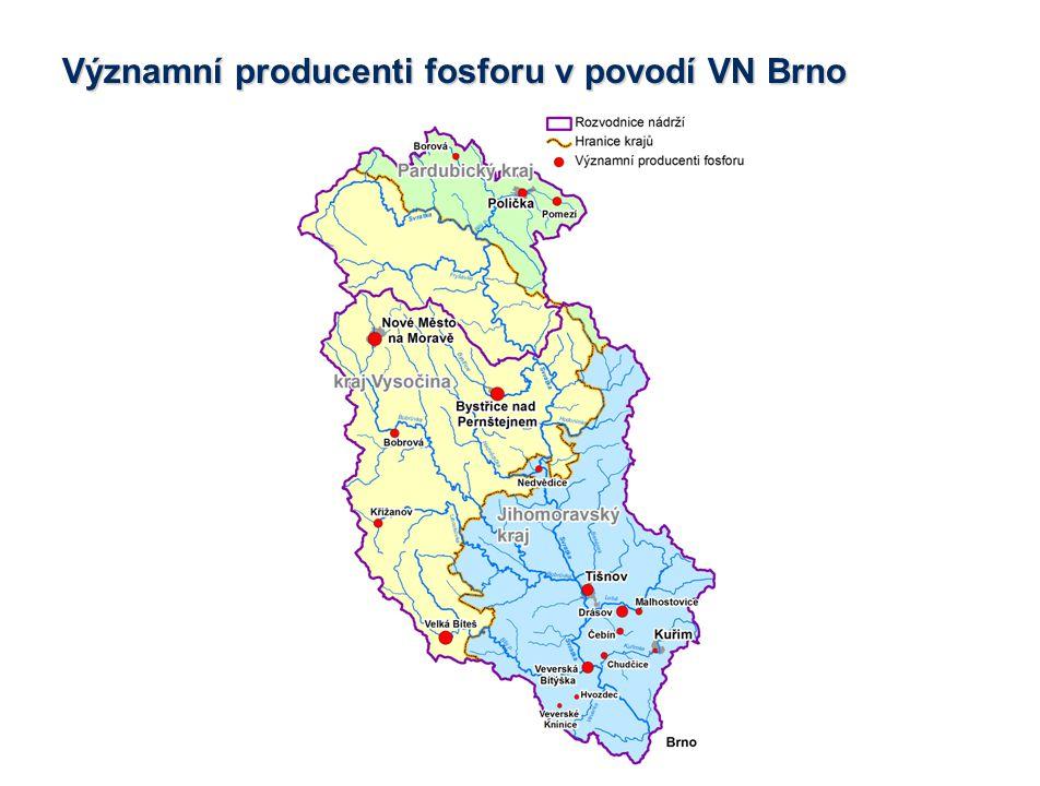 Významní producenti fosforu v povodí VN Brno