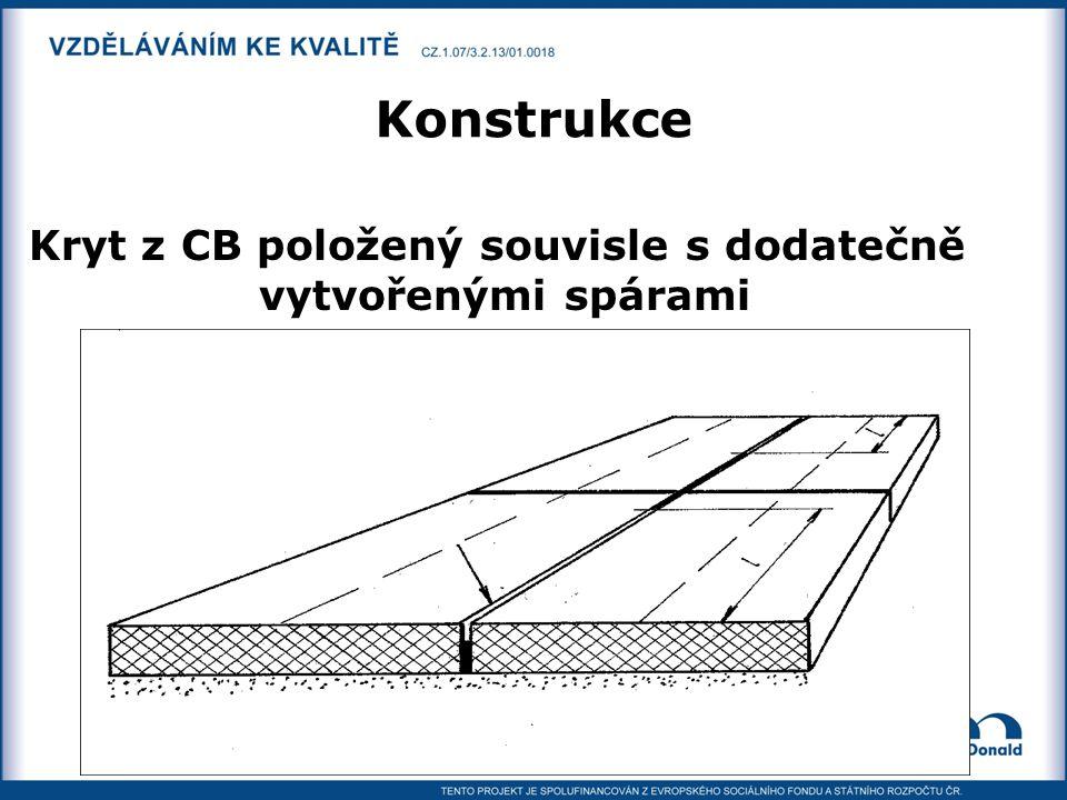 Kryt z CB položený souvisle s dodatečně vytvořenými spárami