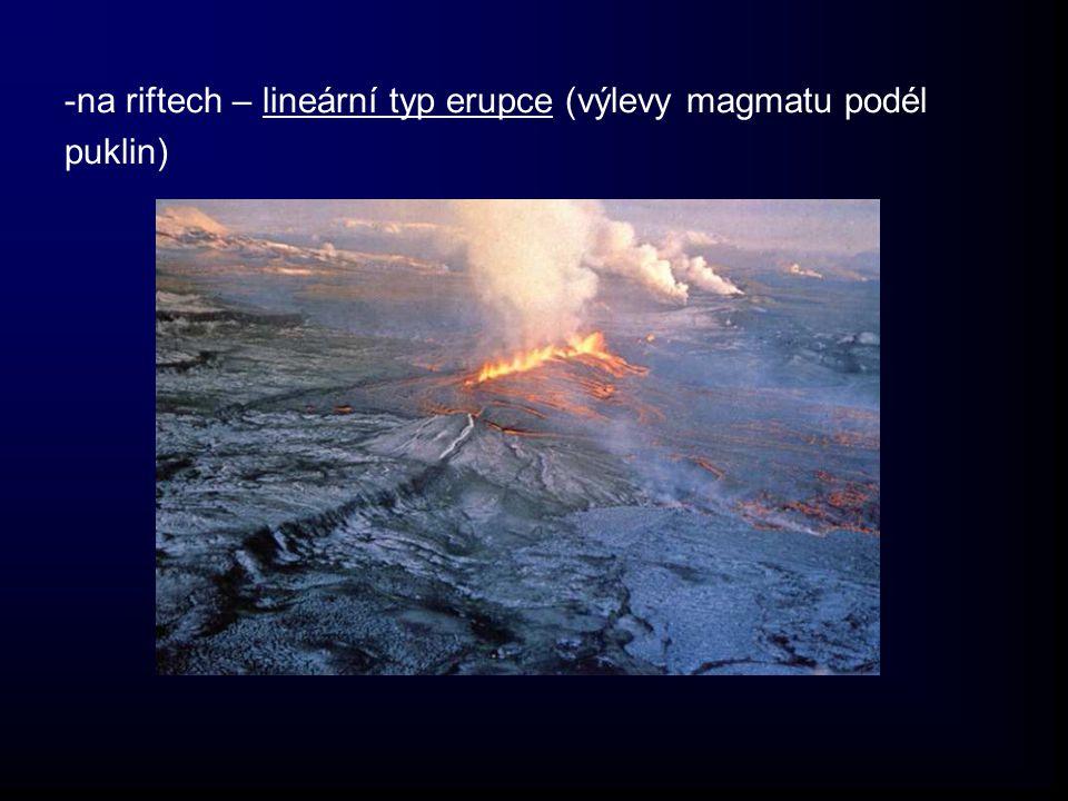 -na riftech – lineární typ erupce (výlevy magmatu podél