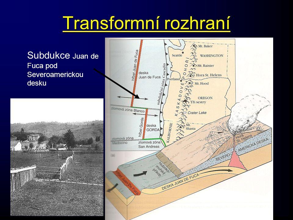 Transformní rozhraní Subdukce Juan de Fuca pod Severoamerickou desku