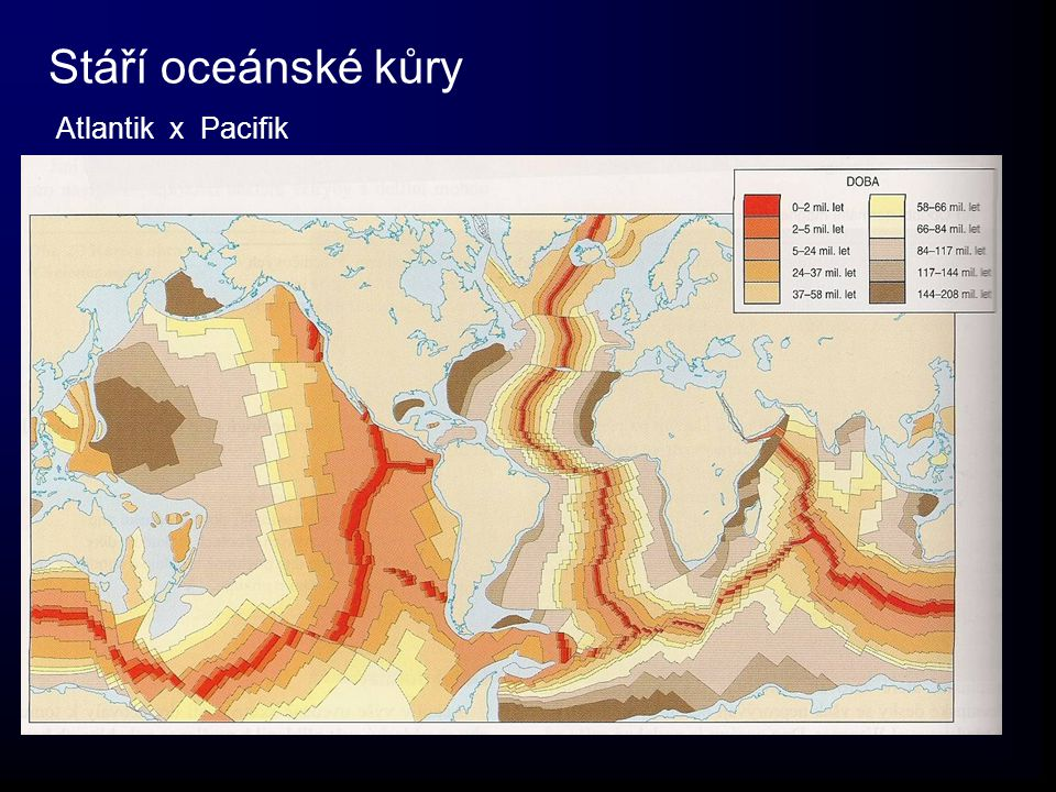 Stáří oceánské kůry Atlantik x Pacifik