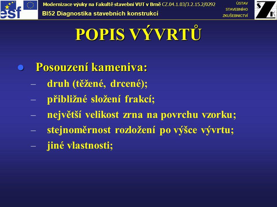 POPIS VÝVRTŮ Posouzení kameniva: druh (těžené, drcené);