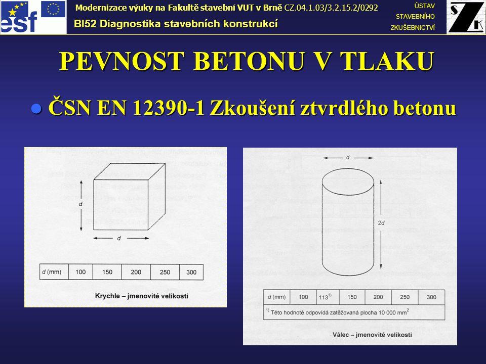 PEVNOST BETONU V TLAKU ČSN EN 12390-1 Zkoušení ztvrdlého betonu