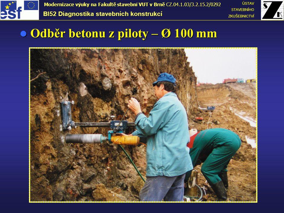 Odběr betonu z piloty – Ø 100 mm