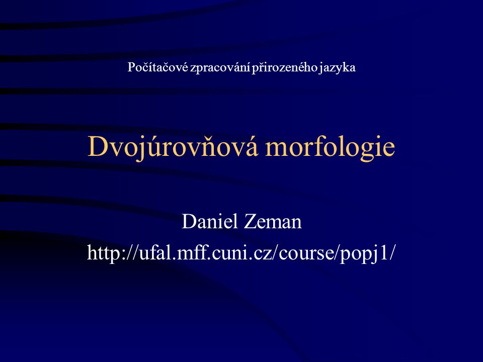 Dvojúrovňová morfologie