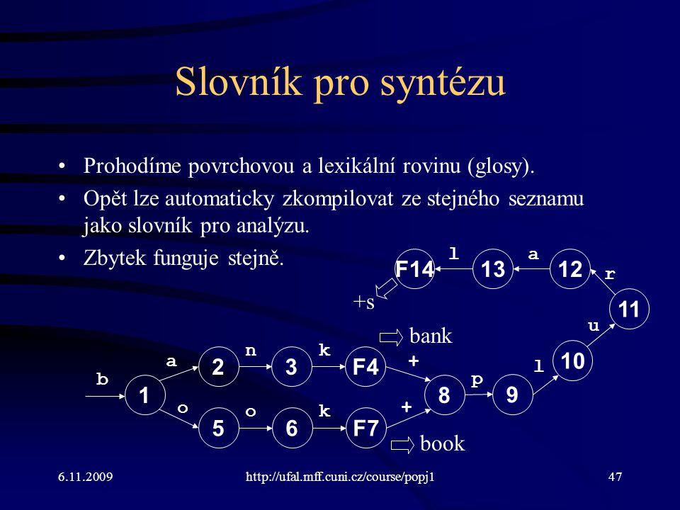 Slovník pro syntézu Prohodíme povrchovou a lexikální rovinu (glosy).
