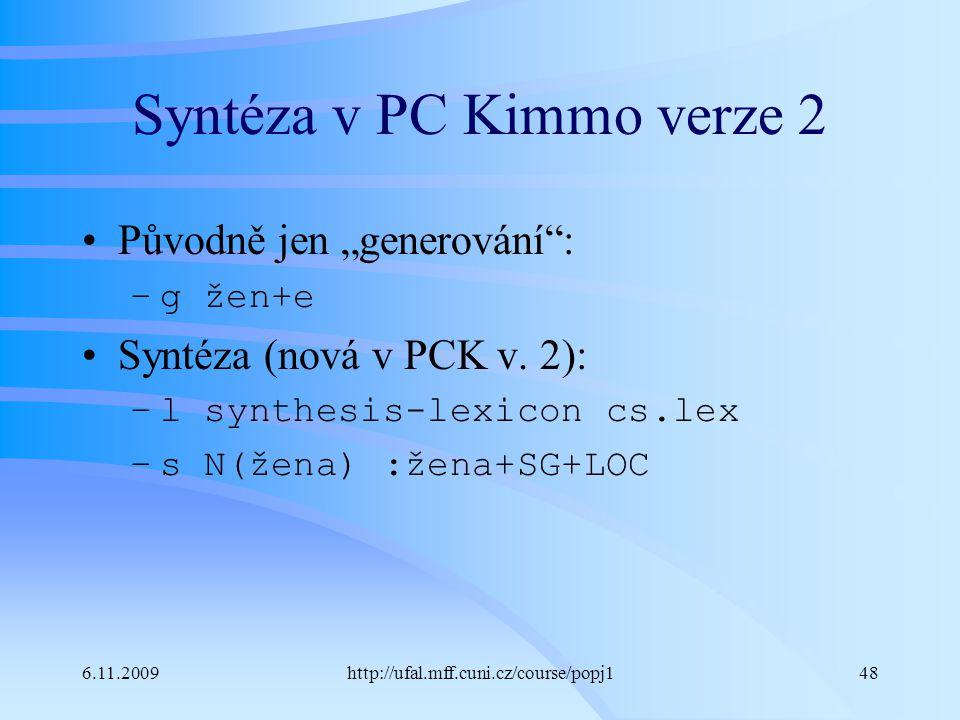 Syntéza v PC Kimmo verze 2