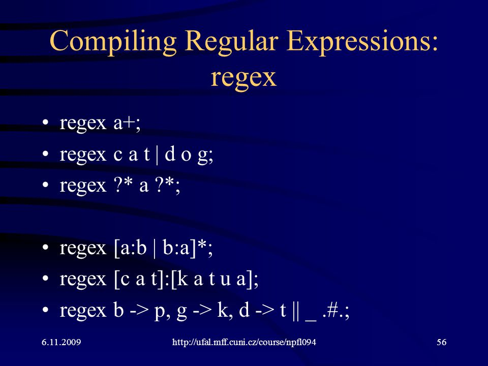Compiling Regular Expressions: regex