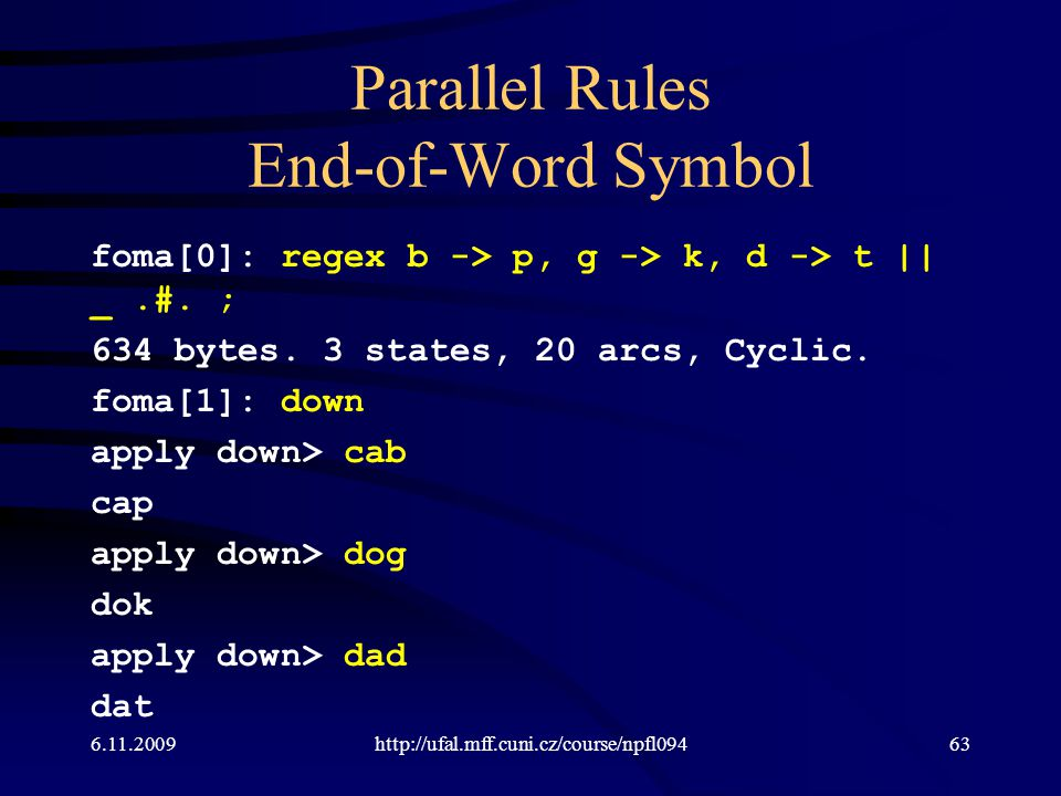 Parallel Rules End-of-Word Symbol