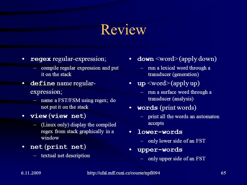 Review regex regular-expression; define name regular-expression;