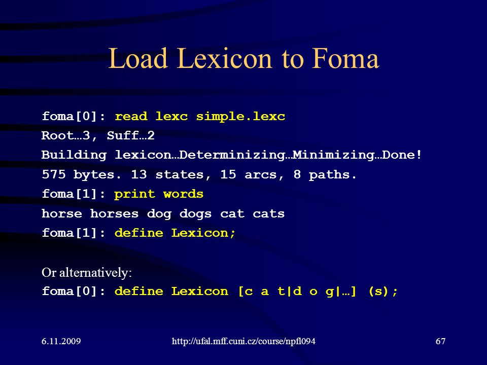 Load Lexicon to Foma