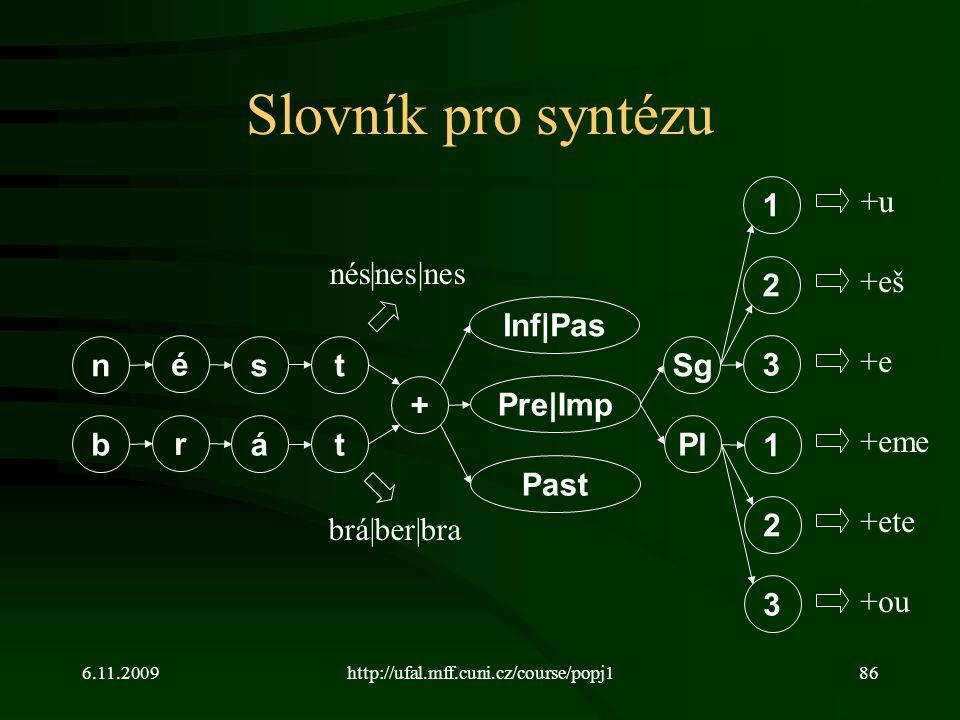 Slovník pro syntézu 1 +u nés|nes|nes 2 +eš Inf|Pas n é s t Sg 3 +e +