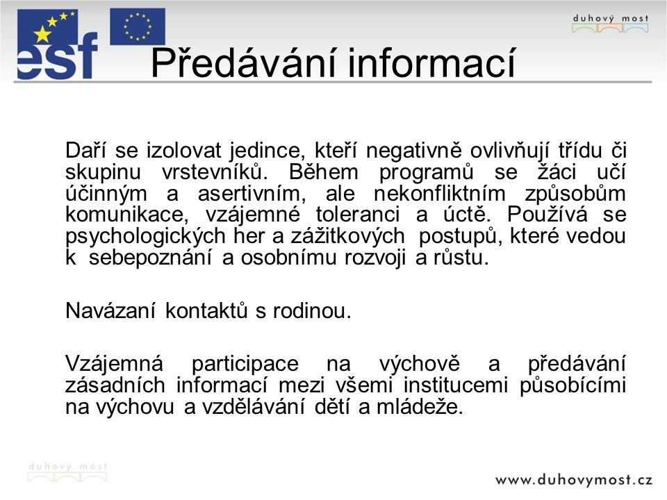 Předávání informací Navázaní kontaktů s rodinou.
