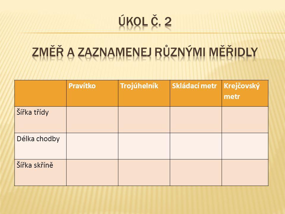 Úkol č. 2 Změř a zaznamenej různými měřidly