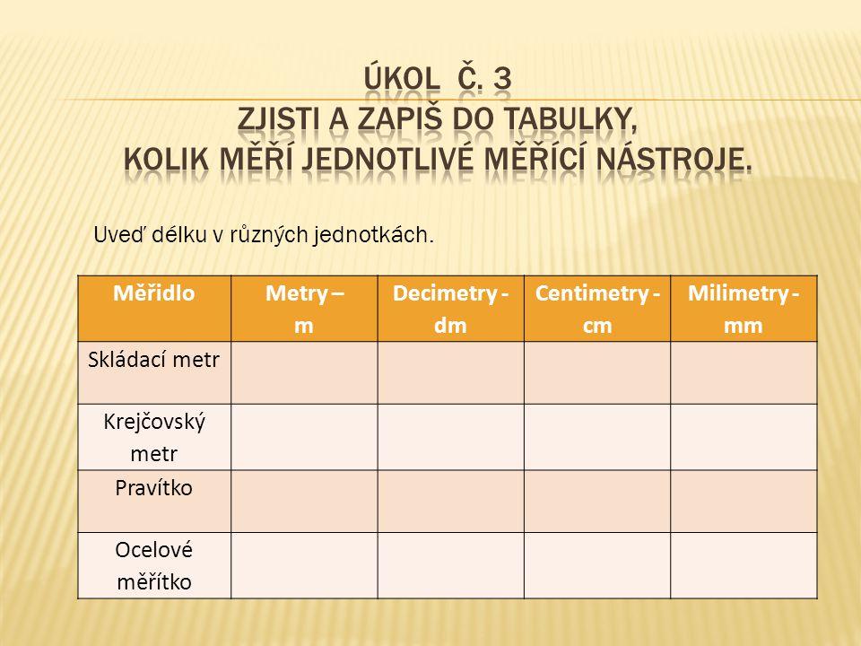Úkol č. 3 Zjisti a zapiš do tabulky, kolik měří jednotlivé měřící nástroje.