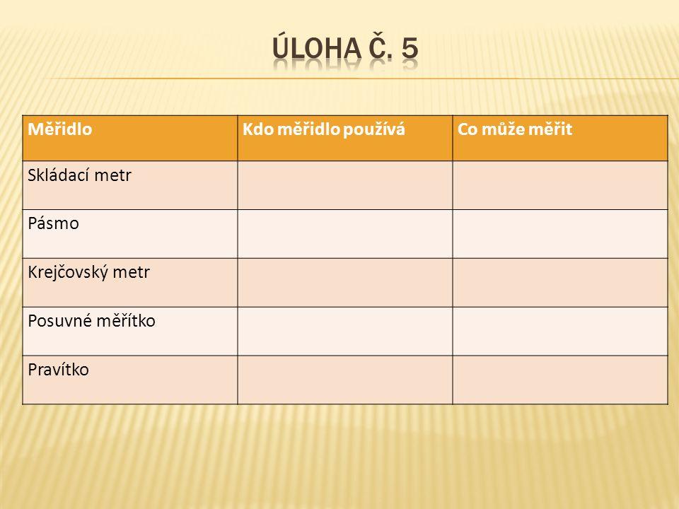 Úloha č. 5 Měřidlo Kdo měřidlo používá Co může měřit Skládací metr