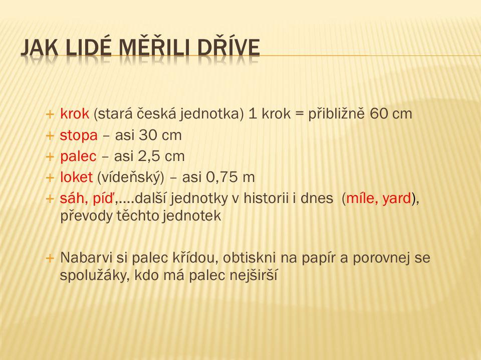 Jak lidé měřili dříve krok (stará česká jednotka) 1 krok = přibližně 60 cm. stopa – asi 30 cm. palec – asi 2,5 cm.