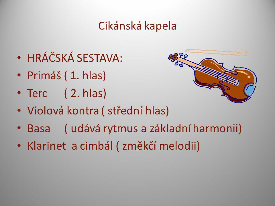 Cikánská kapela HRÁČSKÁ SESTAVA: Primáš ( 1. hlas) Terc ( 2. hlas) Violová kontra ( střední hlas)