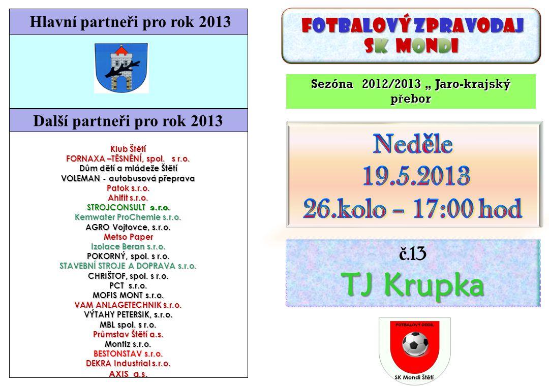 TJ Krupka Neděle 19.5.2013 26.kolo – 17:00 hod SK Mondi č.13