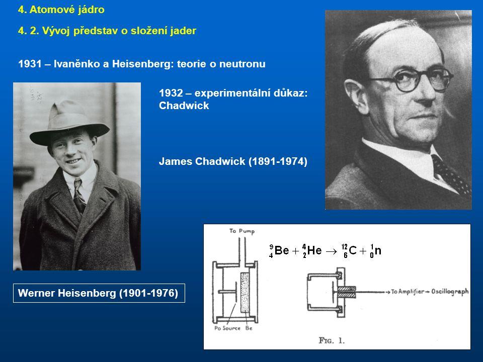 4. Atomové jádro 4. 2. Vývoj představ o složení jader. 1931 – Ivaněnko a Heisenberg: teorie o neutronu.