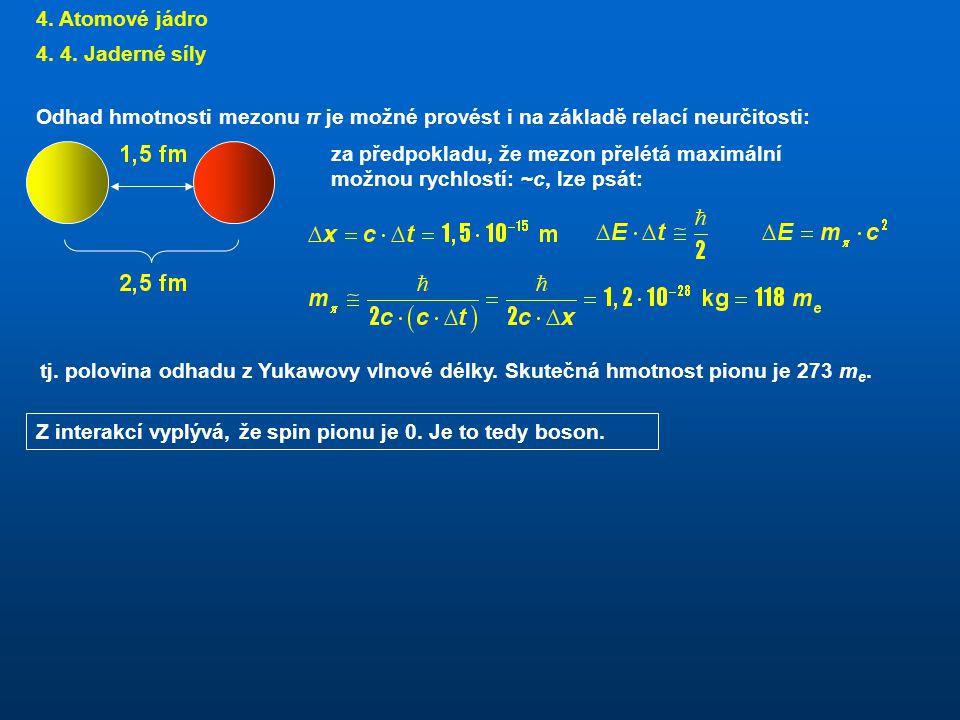4. Atomové jádro 4. 4. Jaderné síly. Odhad hmotnosti mezonu π je možné provést i na základě relací neurčitosti: