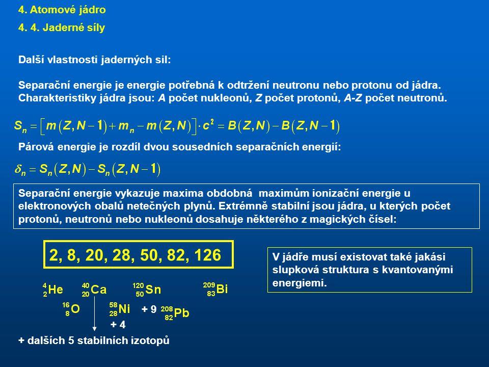 2, 8, 20, 28, 50, 82, 126 4. Atomové jádro 4. 4. Jaderné síly