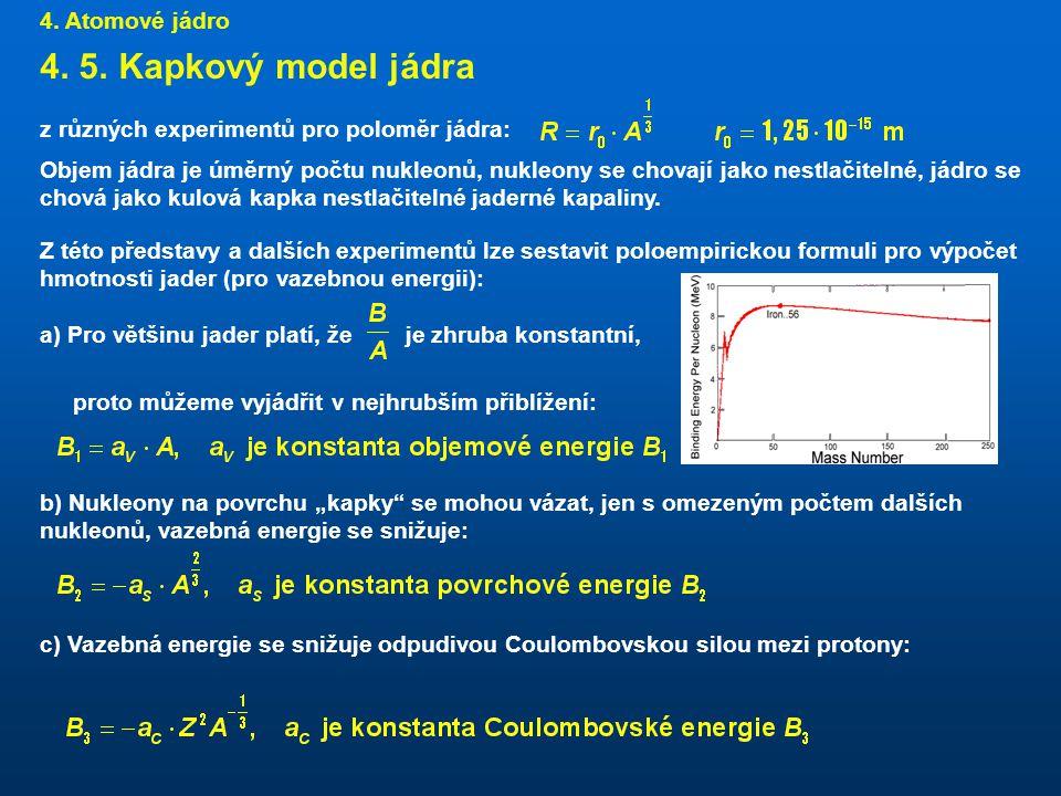 4. 5. Kapkový model jádra 4. Atomové jádro