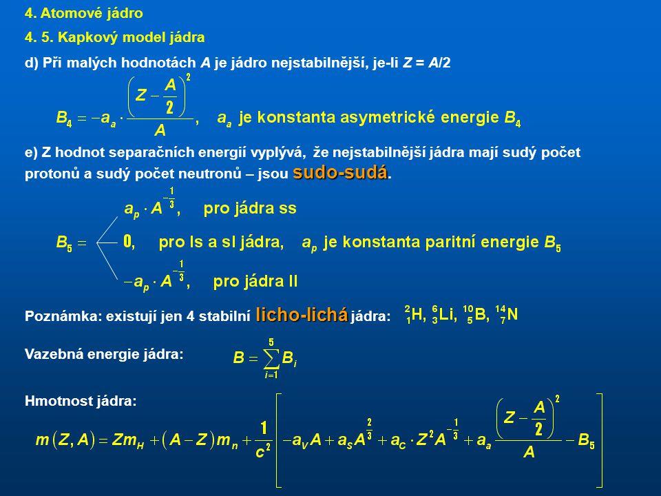 4. Atomové jádro 4. 5. Kapkový model jádra. d) Při malých hodnotách A je jádro nejstabilnější, je-li Z = A/2.