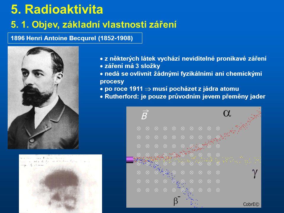 5. Radioaktivita 5. 1. Objev, základní vlastnosti záření
