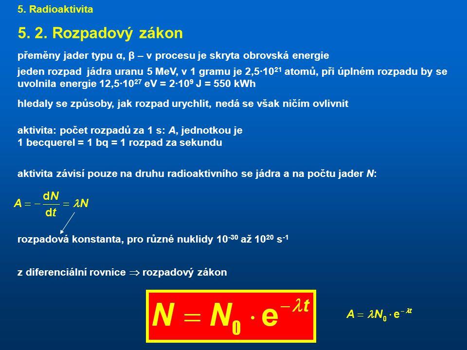 5. 2. Rozpadový zákon 5. Radioaktivita