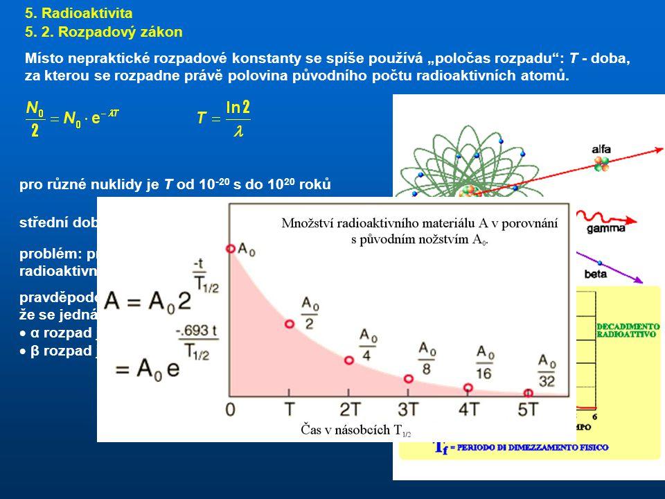 5. Radioaktivita 5. 2. Rozpadový zákon.