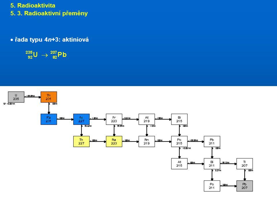 5. Radioaktivita 5. 3. Radioaktivní přeměny řada typu 4n+3: aktiniová
