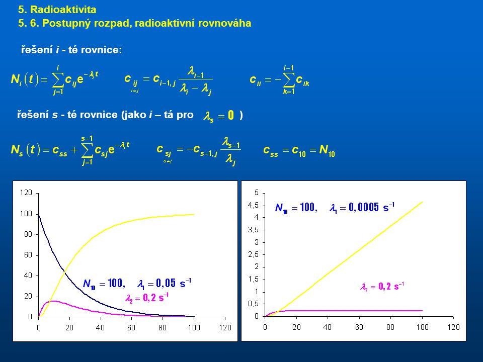 5. Radioaktivita 5. 6. Postupný rozpad, radioaktivní rovnováha.