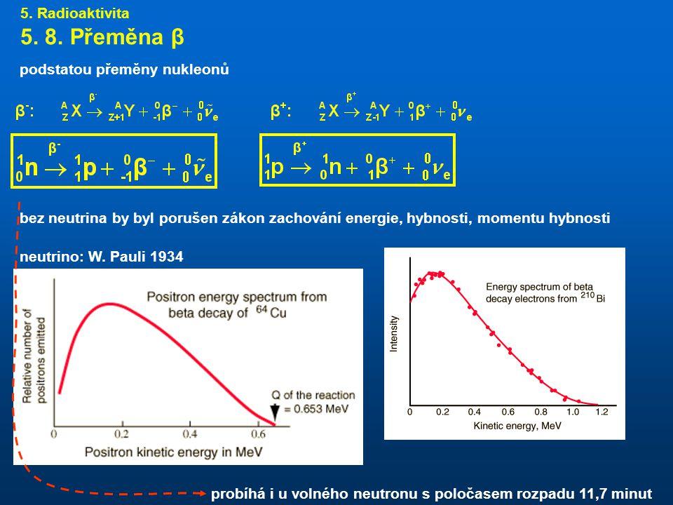 5. 8. Přeměna β 5. Radioaktivita podstatou přeměny nukleonů