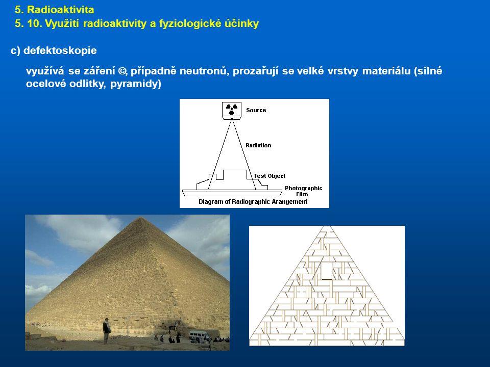 5. Radioaktivita 5. 10. Využití radioaktivity a fyziologické účinky. c) defektoskopie.
