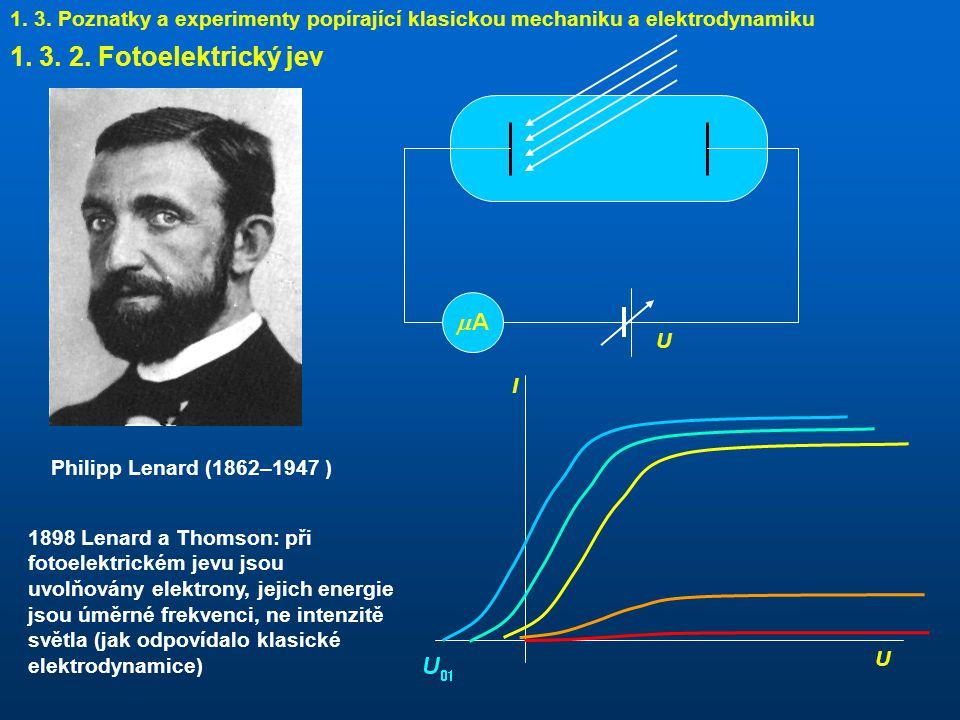 1. 3. Poznatky a experimenty popírající klasickou mechaniku a elektrodynamiku