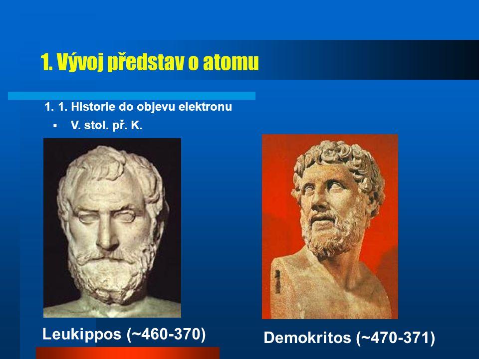 1. Vývoj představ o atomu Leukippos (~460-370) Demokritos (~470-371)