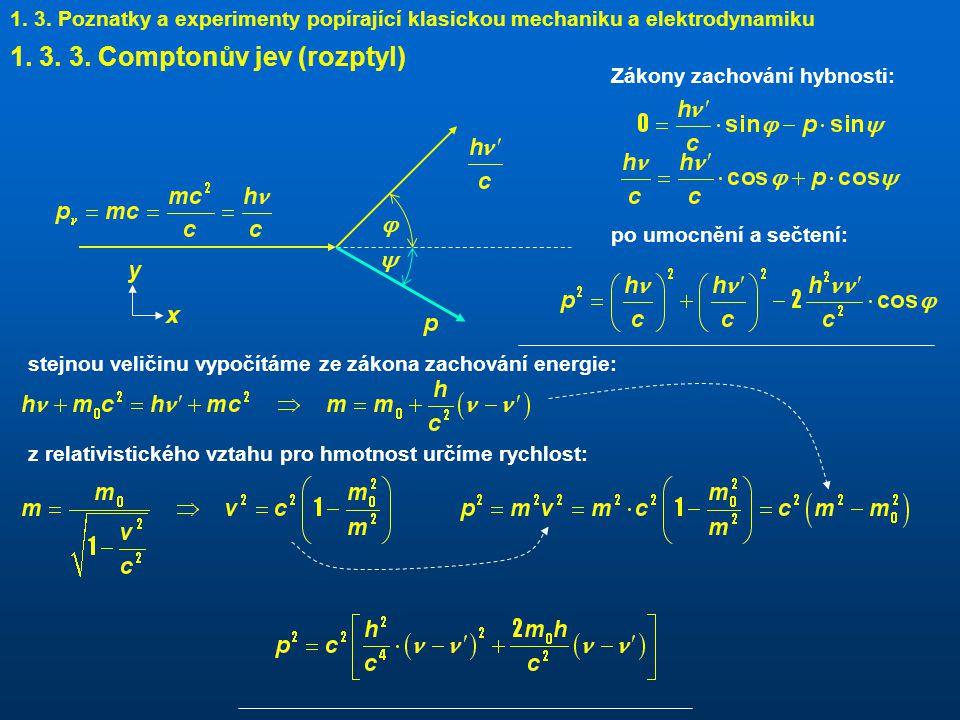 1. 3. 3. Comptonův jev (rozptyl)