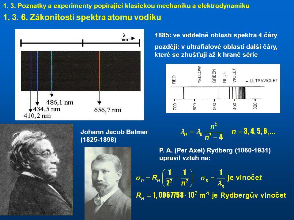 1. 3. 6. Zákonitosti spektra atomu vodíku