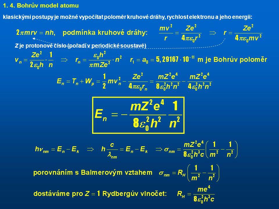 1. 4. Bohrův model atomu klasickými postupy je možné vypočítat poloměr kruhové dráhy, rychlost elektronu a jeho energii: